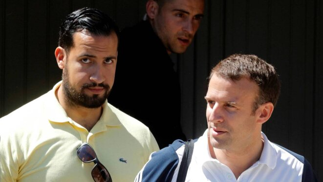 Alexandre Benalla et Emmanuel Macron. © Reuters