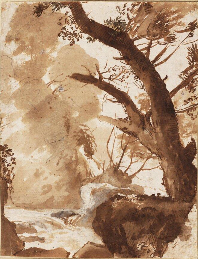 Arbre et rocher près d'un ruisseau © Claude Gelée dit Le Lorrain - Vers 1635