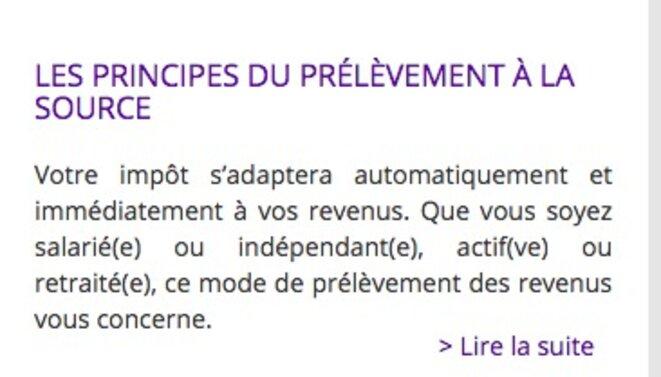 Les principes du prélèvement à la source, selon le site internet de Bercy. © DR