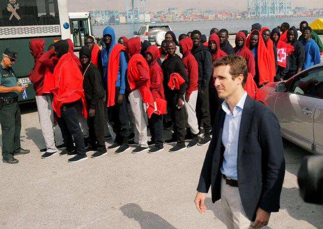 Pablo Casado, président du PP, le 1er août à Algésiras, en Andalousie. © Reuters