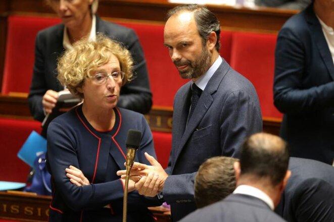 Muriel Pénicaud et Édouard Philippe à l'Assemblée nationale en septembre 2017. © Reuters