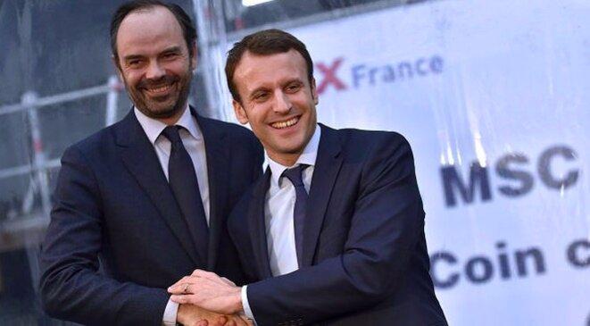 Édouard Philippe et Emmanuel Macron en février 2016. © DR