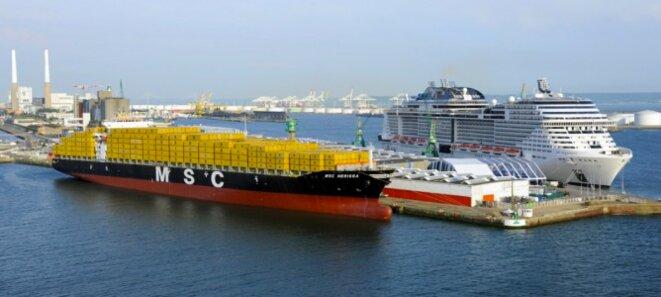 Première arrivée du paquebot géant « MSC Meraviglia » au port du Havre en 2017. © Haropa/ port du havre