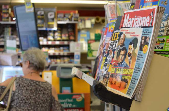 A newsagent in Le Mans, August 1st, 2018. © Justine Brabant