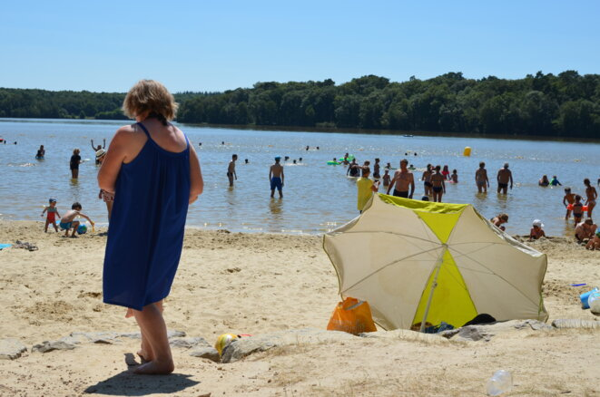 Opinion was divided on the lakeside beach at Sillé-le-Guillaume in central west France. © Justine Brabant