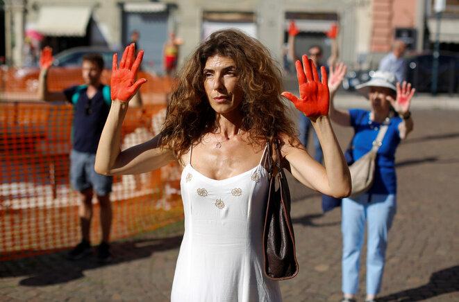Manifestación en Roma contra la política migratoria de Salvini, el 18 de julio de 2018. © Reuters