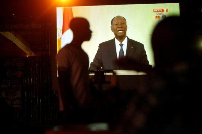 Lundi 6 août à Abidjan, Ouattara prononce un discours télévisé. © Reuters