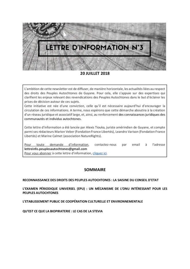 La Lettre d'Information Nº3. (1/10)