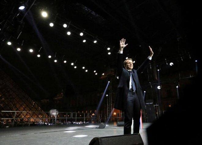 Emmanuel Macron au soir de son élection, le 7 mai 2017. © Reuters