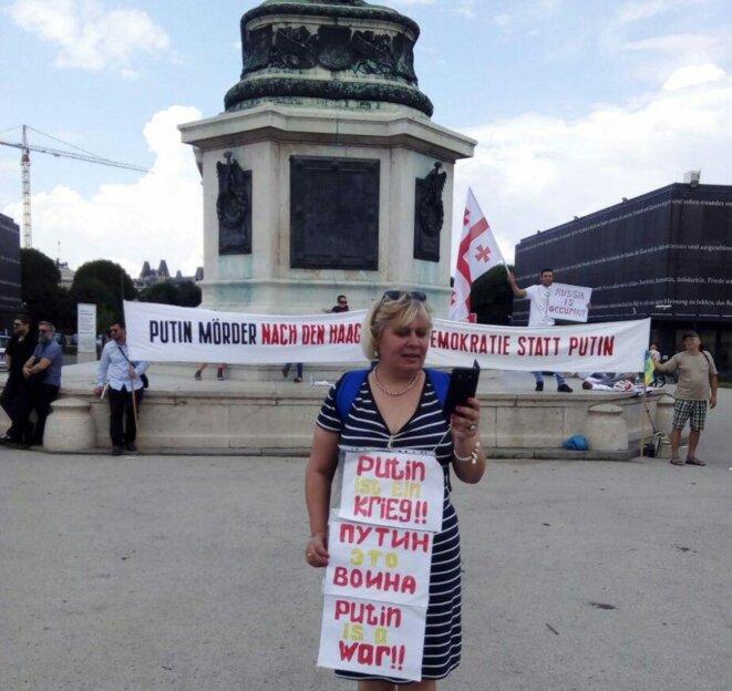 Nadejda Pétrova contre Poutine à Vienne © Nadejda Pétrova
