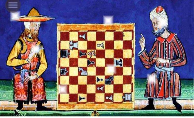 Parie d'échecs entre un juif et un musulman, XIIIe siècle, Bibliothèque de l'Escurial, Madrid. © E'M.C.