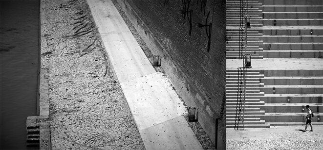 """Les berges de la Garonne et l'escalier monumental le 1er août l'après-midi. Des Toulousains """"réconciliés avec leur fleuve"""" ? © Alain Pitton"""