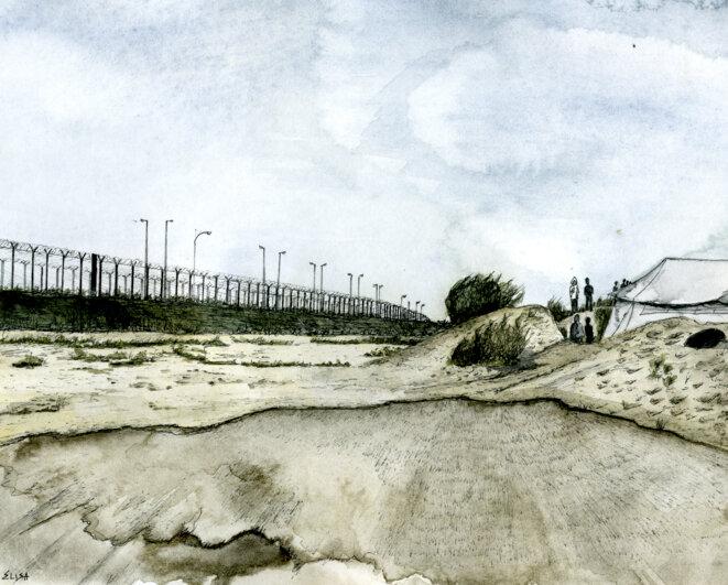 """La zone industrielle des Dunes à Calais, où se situait la """"jungle"""" de 2015-2016 © Dessin/Elisa Perrigueur"""