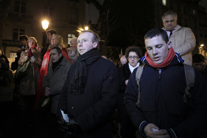 Civitas chairman Alain Escada (centre) at a protest in front of the French parliament against the introduction of the same-sex marriage law, January 2013. © Reuters