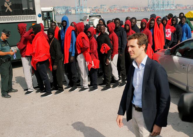 Pablo Casado, presidente del PP, el 1 de agosto en Algeciras, Andalucía. © Reuters / Jon Nazca
