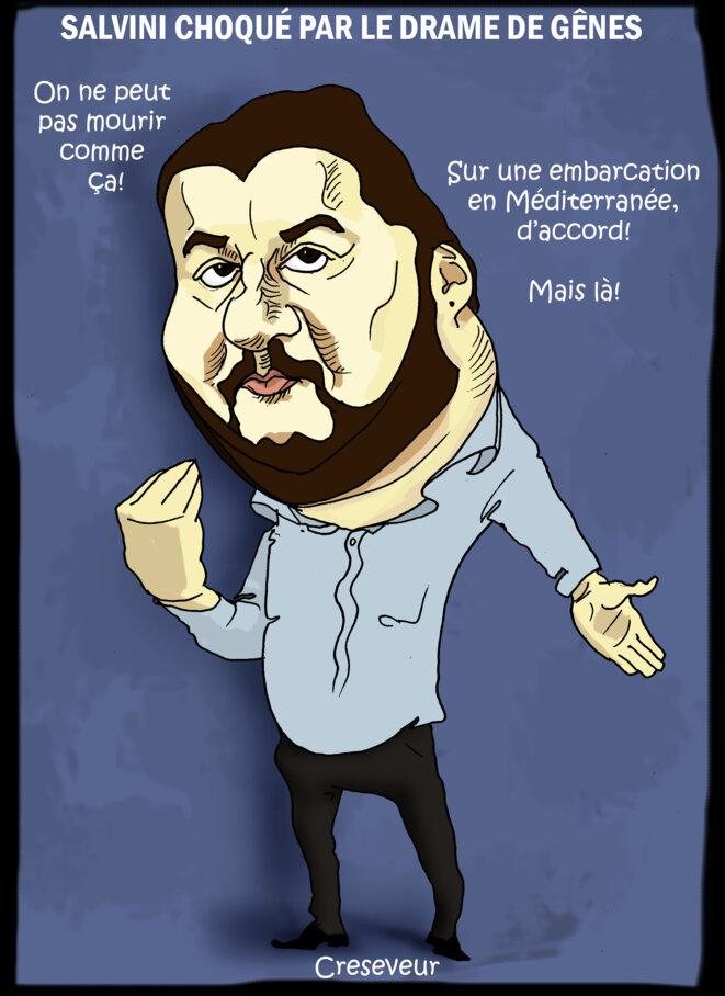 Le dessin du jour (humour en images) - Page 19 Salvini-reagit-a-la-chute-du-viaduc-de-genes