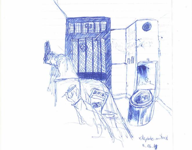 Une cellule du quartier disciplinaire de la prison de Villepinte vue par un détenu qui y a séjourné.