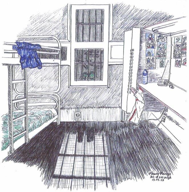 © Une cellule de la maison d'arrêt de Fleury-Mérogis vue par un détenu qui y a séjourné.