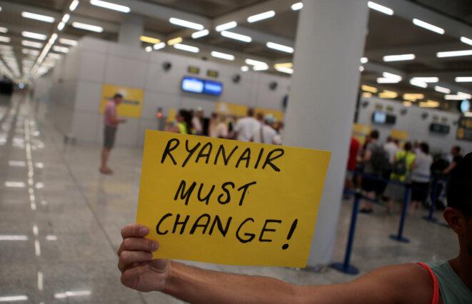 Message d'un salarié de Ryanair, le 25 juillet 2018, en Espagne. © Reuters