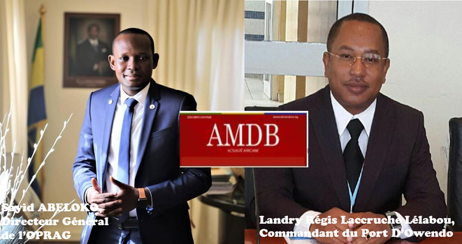 Sayid ABELOKO, Directeur Général de l'OPRAG et Landry Régis Laccruche Lélabou, Commandant du Port D'Owendo