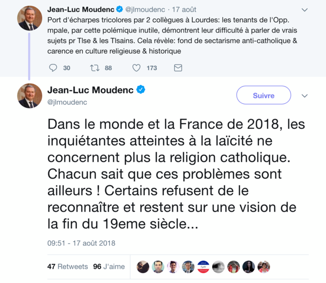 The Twitter messages posted by Toulouse mayor Jean-Luc Moudenc.