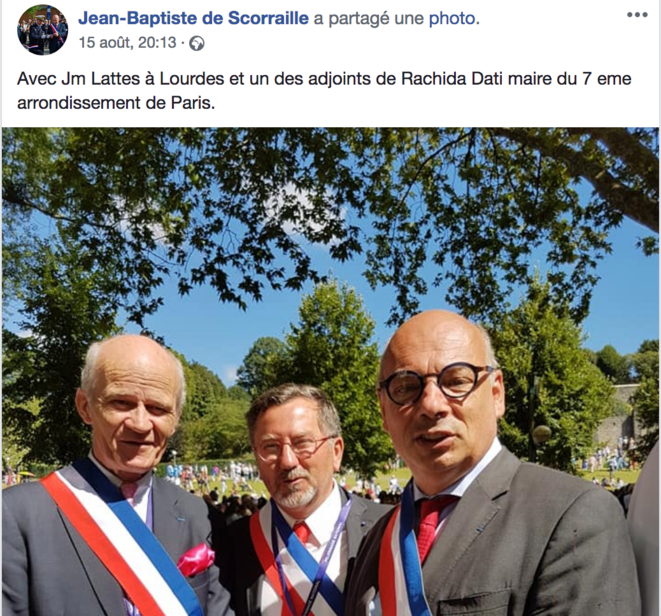 The Facebook post showing Jean-Michel Lattes (centre) and Jean-Baptiste de Scorraille (right) in Lourdes with a conservative colleague and councillor for the Paris 7th arrondissement.