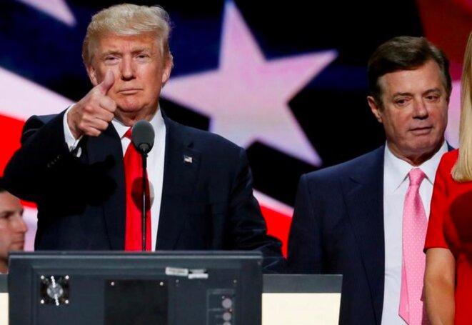 21 juillet 2016. Paul Manafort et Donald Trump, lors de la convention républicaine à Cleveland (Ohio). © Reuters