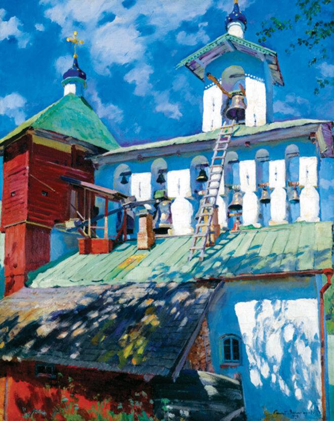 1929-sergey-vinogradov-le-beffroy-du-monastere-pskovo-pechersky