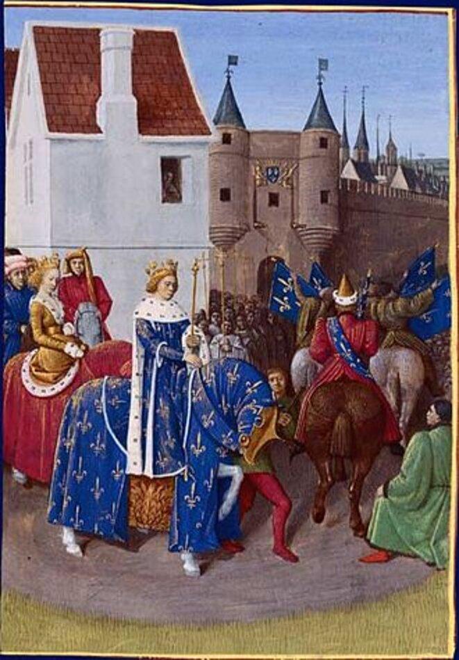 Entrée de Jean II le Bon à Paris après son sacre (Jean Fouquet, Grandes Chroniques de France, vers 1455-1460 (BNF, Fr.6 465, f.378v)