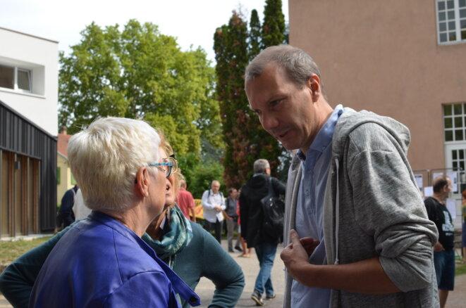 Le secrétaire national d'Europe Écologie-Les Verts, David Cormand, aux journées d'été d'EELV à Strasbourg, le 24 août 2018. © Justine Brabant