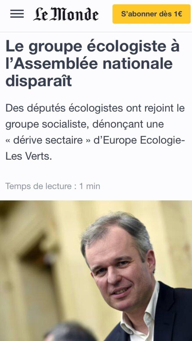 Explosion du premier groupe écologiste à l'Assemblée nationale en cours de mandat (mai 2016) © lemonde.fr