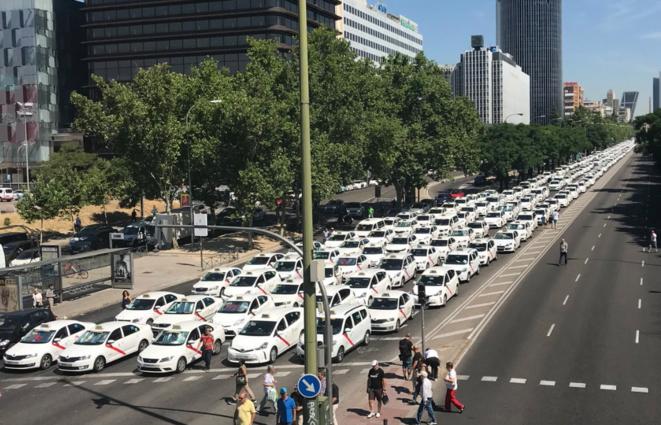 Grève de taxis à Madrid le 30 juillet 2018