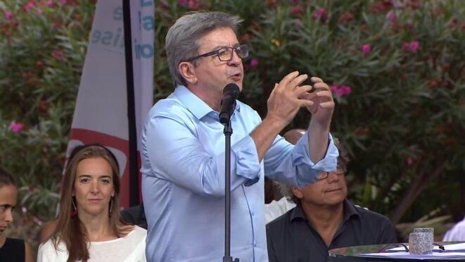 Jean-Luc Mélenchon pendant son discours au parc Chanot, à Marseille, le 25 août. © YouTube