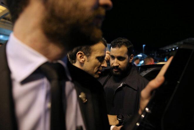 Emmanuel Macron with bodyguard Alexandre Benalla. © Reuters