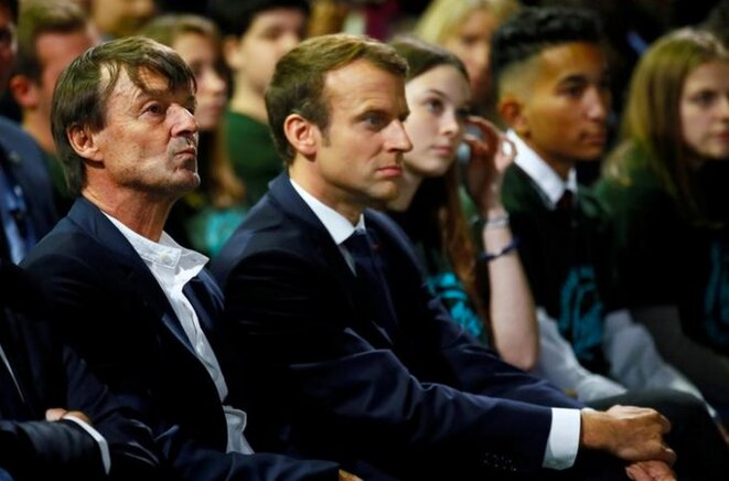 Nicolas Hulot and President Emmanuel Macron in October 2017. © Reuters