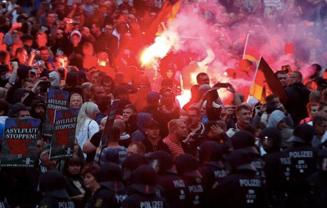 Manifestations d'extrême droite à Chemnitz. © Reuters