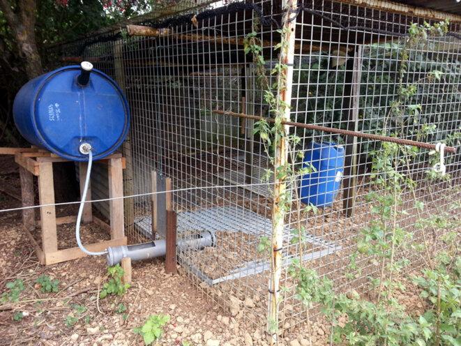 Cage d'élevage de faisans installée dans un champ © Blog Ornito