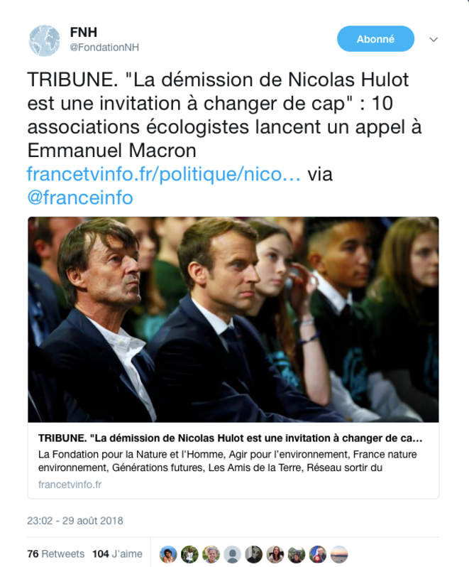 Appel des ONG françaises suite au départ de N. Hulot du Gouvernement © FNH / Twitter