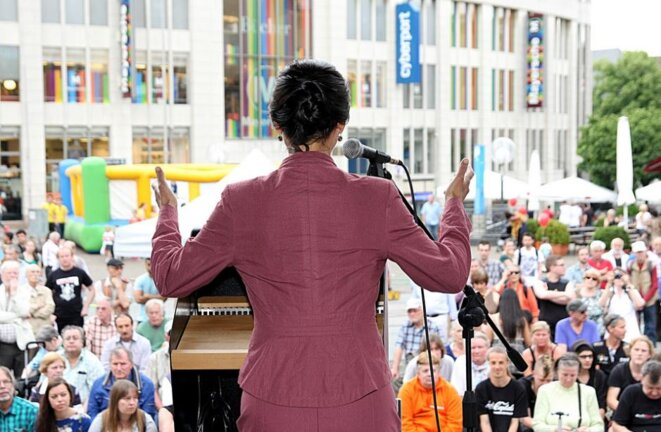 Sahra Wagenknecht speaking in 2014. Die Linke / Flickr