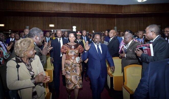 Joseph Kabila et Olive Lembe en juillet 2018 au Palais du peuple © Présidence RDC
