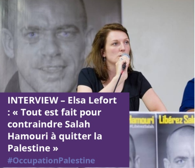 Elsa Lefort porte-parole et épouse de l'avocat franco-palestinien en détention administrative en Israël Salah Hamouri lors du lancement de son comité de soutien à Paris le 5 septembre 2017 © E'M.C. Palestine