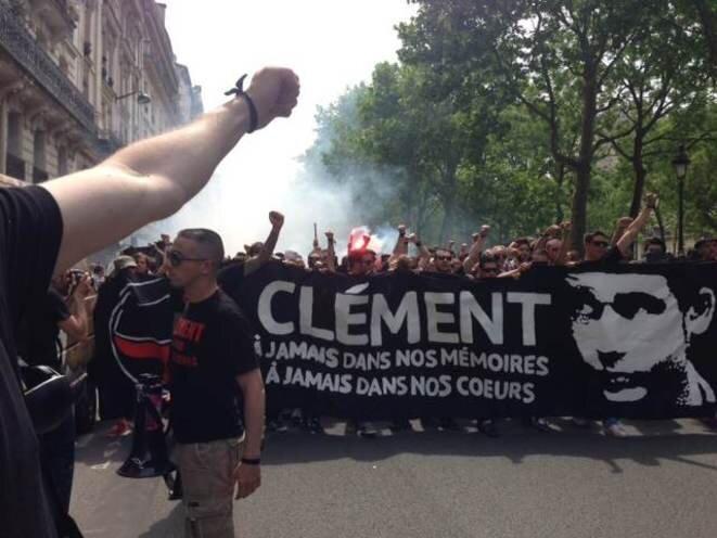 Un rassemblement antifasciste en mémoire de Clément Méric, le 8 juin 2013 à Paris. © MD/Mediapart