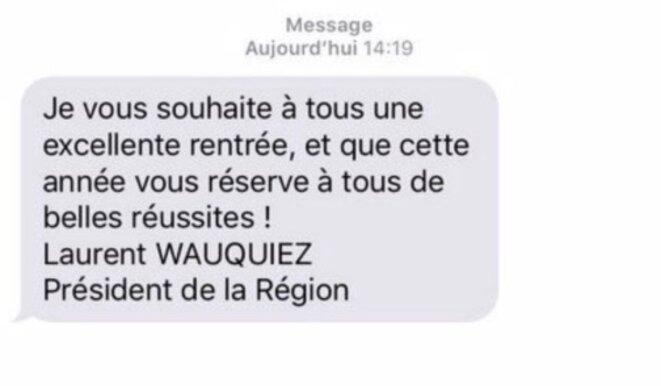 SMS reçu par les lycéens d'Auvergne-Rhône-Alpes. © DR
