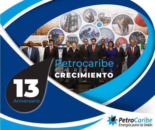 Affiche célébrant, en juin dernier, le 13e anniversaire de PetroCaribe : « PetroCaribe pour la croissance ». © DR
