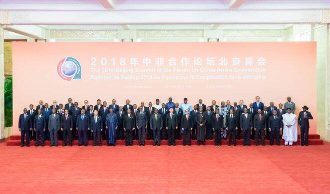 Ouverture du 3ème sommet du Forum sur la coopération sino-africaine (FCSA) 2018 - Photo de famille des chefs d'Etat et de gouvernements.