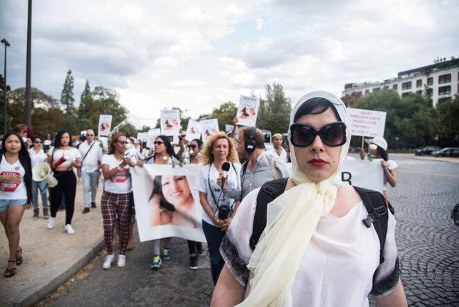Rassemblement en mémoire de Vanesa Campos au bois de Boulogne, le 24 août. © Eros Sana