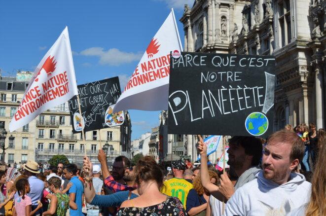 Dans le cortège de la Marche pour le climat, Paris, le 8 septembre 2018. © Mediapart / Justine Brabant