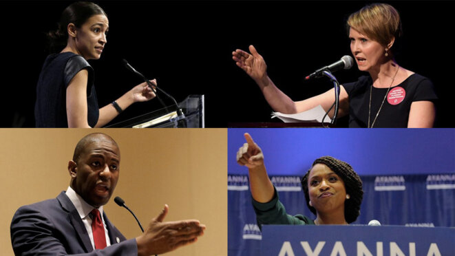 Alexandria Ocasio-Cortez, Cynthia Nixon, Andrew Gillum et Ayanna Pressley. © Reuters