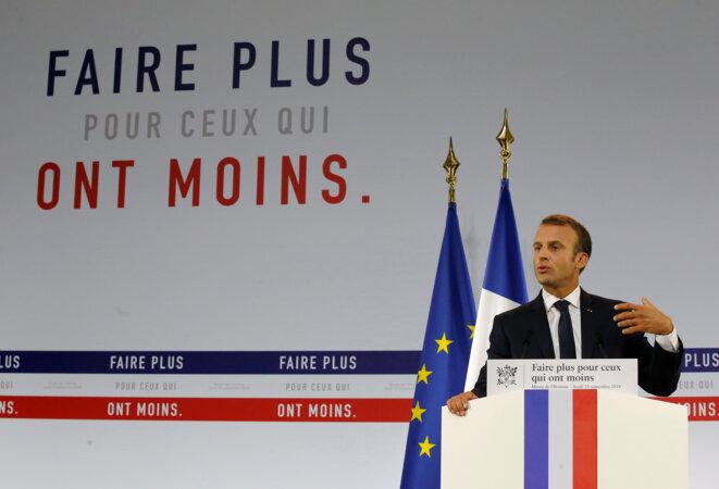 Emmanuel Macron lors de la présentation de son plan pauvreté. © Reuters