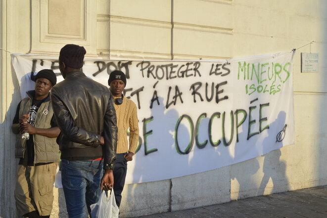 Lors de l'occupation de l'église Saint-Ferréol, à Marseille, fin novembre 2017. © LF